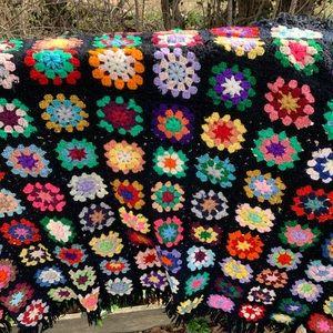 Vintage Crochet Afghan Blanket Quilt Granny Square
